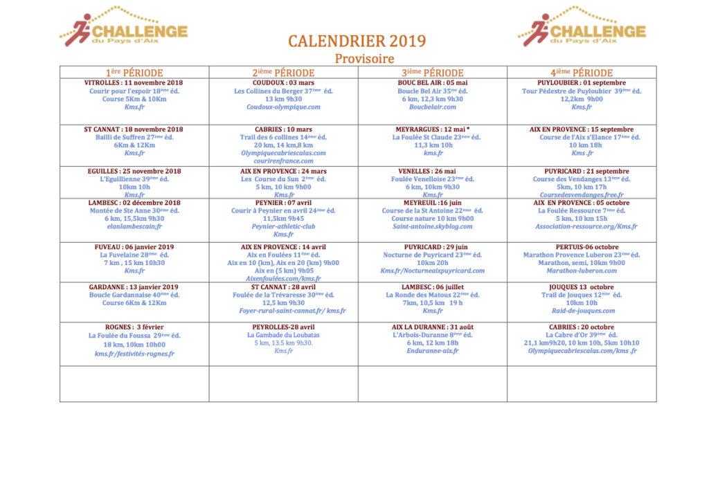 calendrier du sportif course a pied